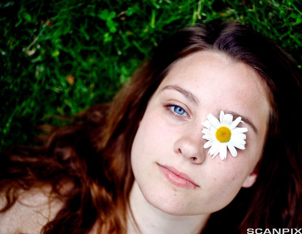 Jente ligger på gresset med prestekrage over det ene øyet. Foto.