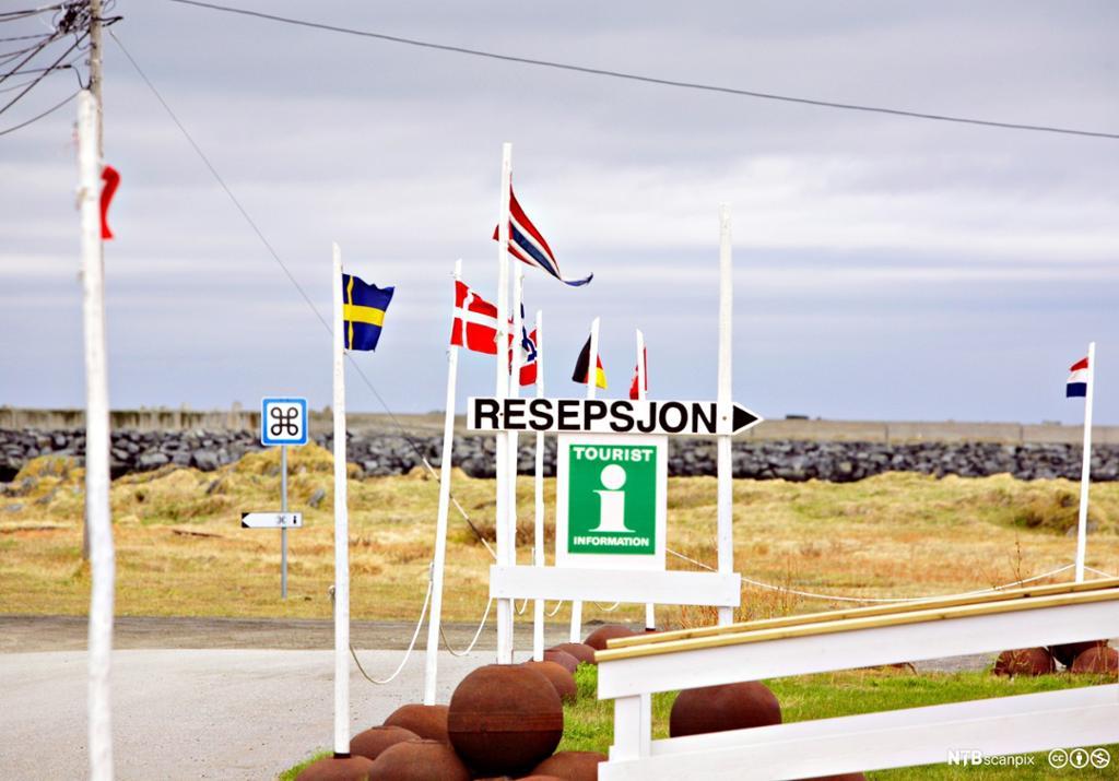Internasjonale flagg og skilt med turistinformasjon i Berlevåg. Foto.