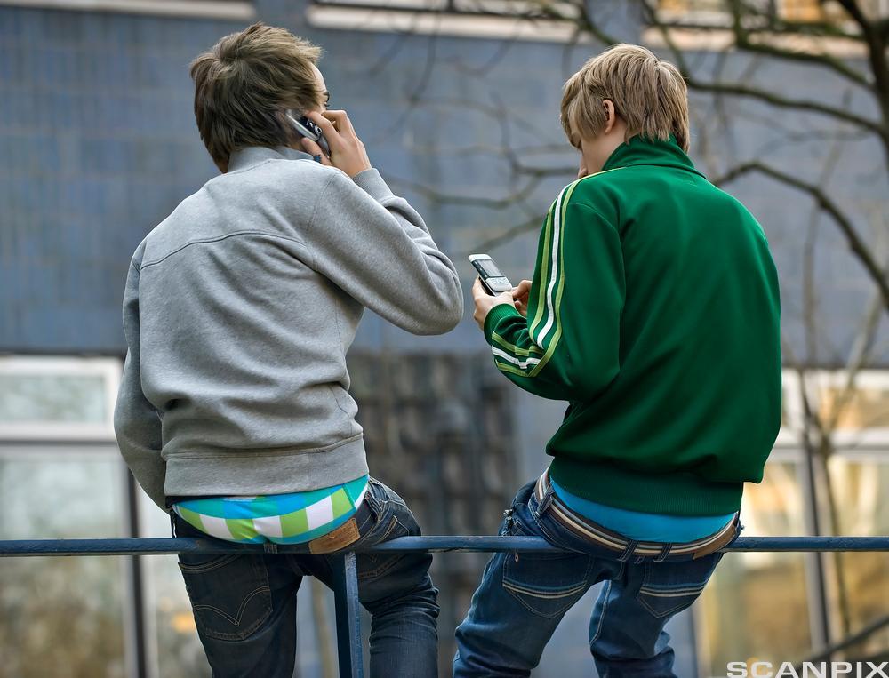 Ungdommer med mobiltelefon. Foto.