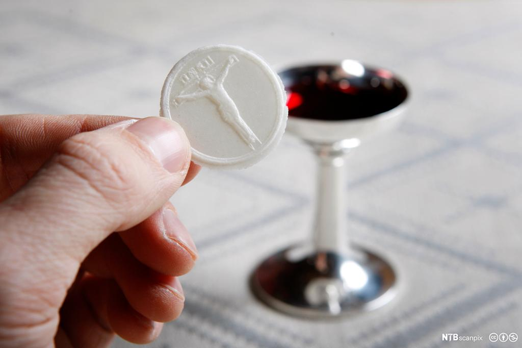 En hånd holder en rund, hvit skive. Bak et lite beger med rød vin. Foto.