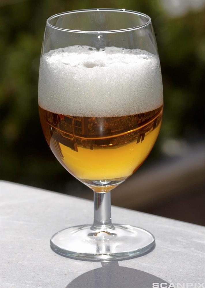 Øl med kullsyre. Foto.