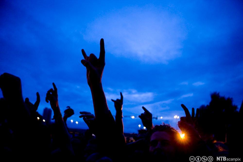 Tilskuere på rockekonsert. Foto.