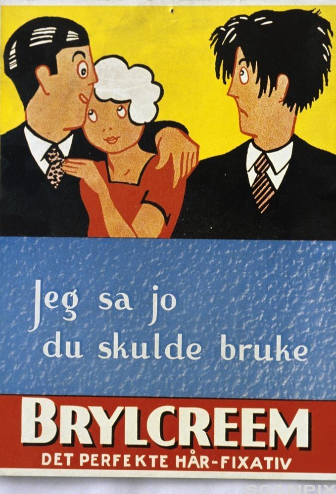 Bildet viser en reklameplakat for brylkrem, A-Magasinet, 29. april 1989.