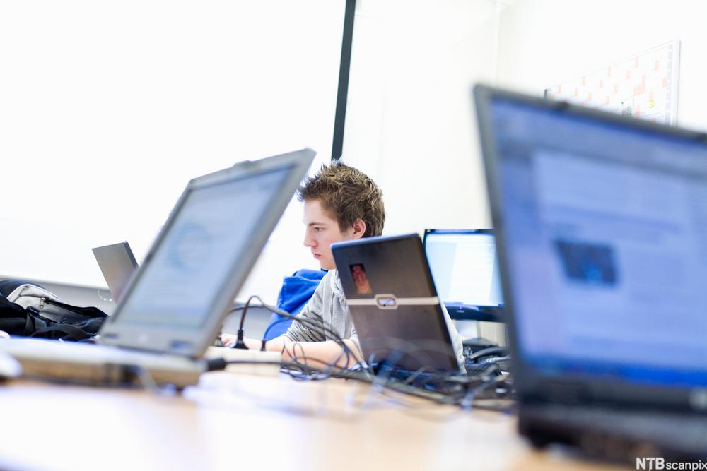 Bilde av elev foran PC. Foto.