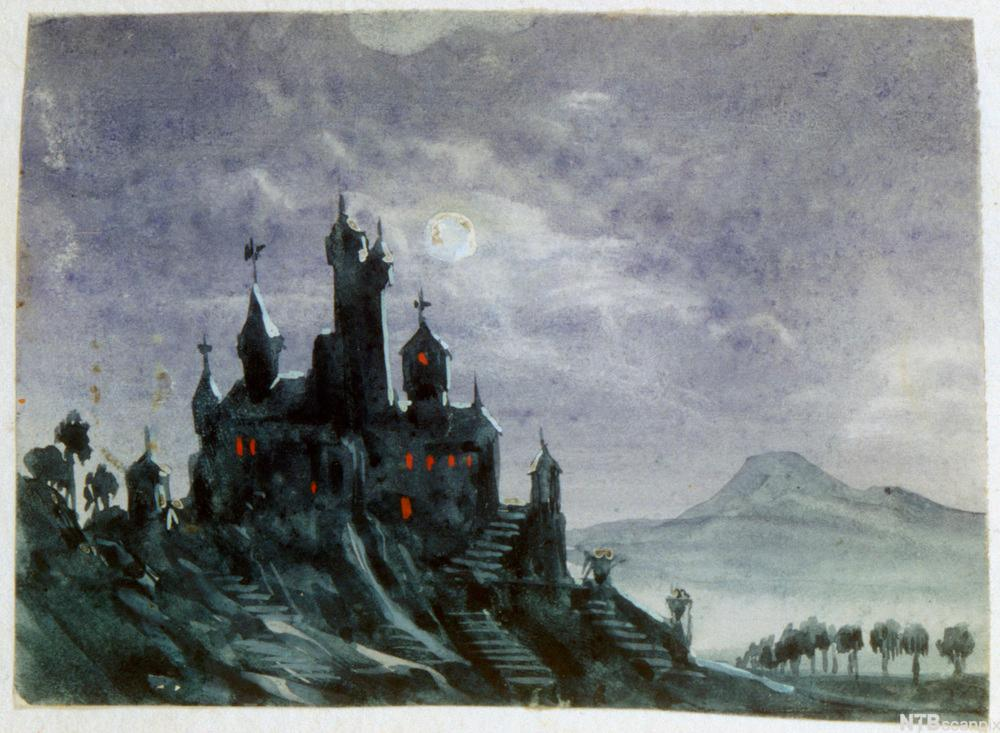 "Bilde av maleriet ""Fantasy Castle in Moonlight""."