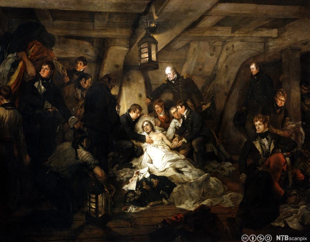 En døende lord Nelson omgitt av sine menn. Maleri.