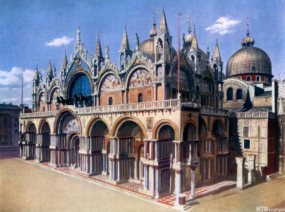 Bysantinsk arkitektur. Illustrasjon.