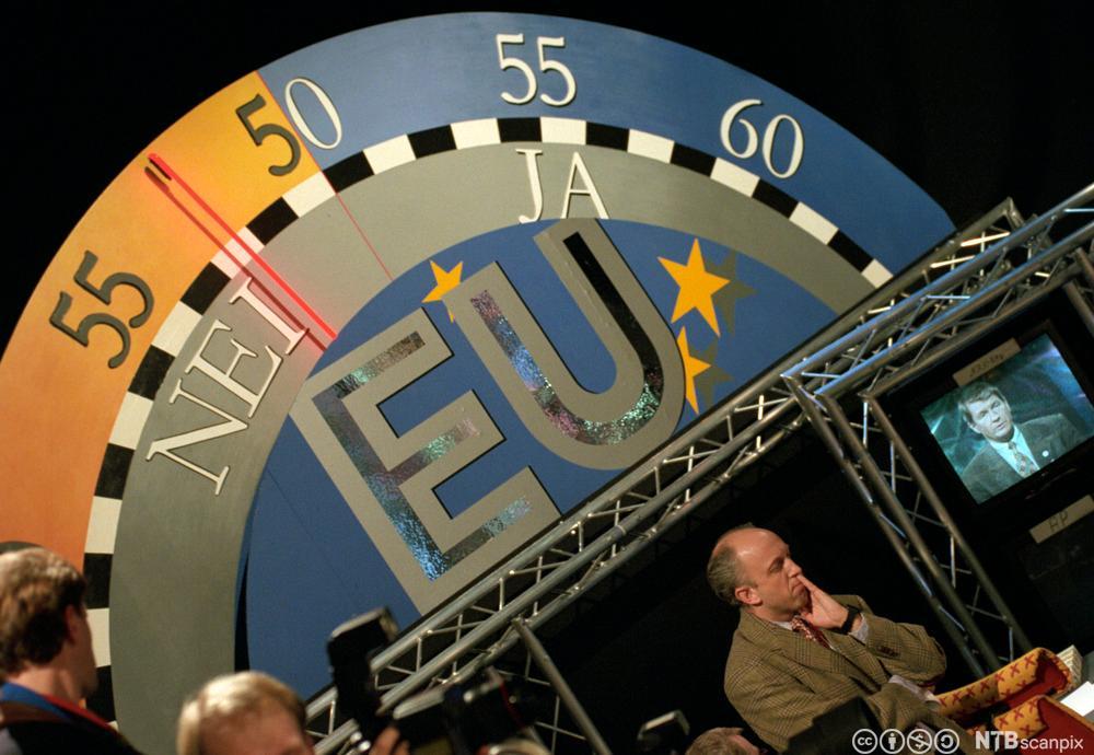 Barometer i NRK-studio viser Nei-flertall i EU-avstemningen i 1994. Foto.