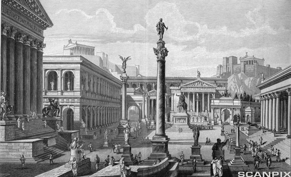 Grafikk som viser rekonstruksjon av Forum Romanum. Illustrasjon.