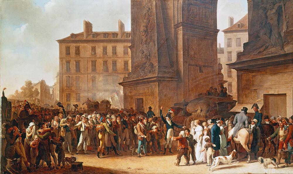 Mange menneske og nokre hundar står framom ei stor boge i Paris. Måleri.