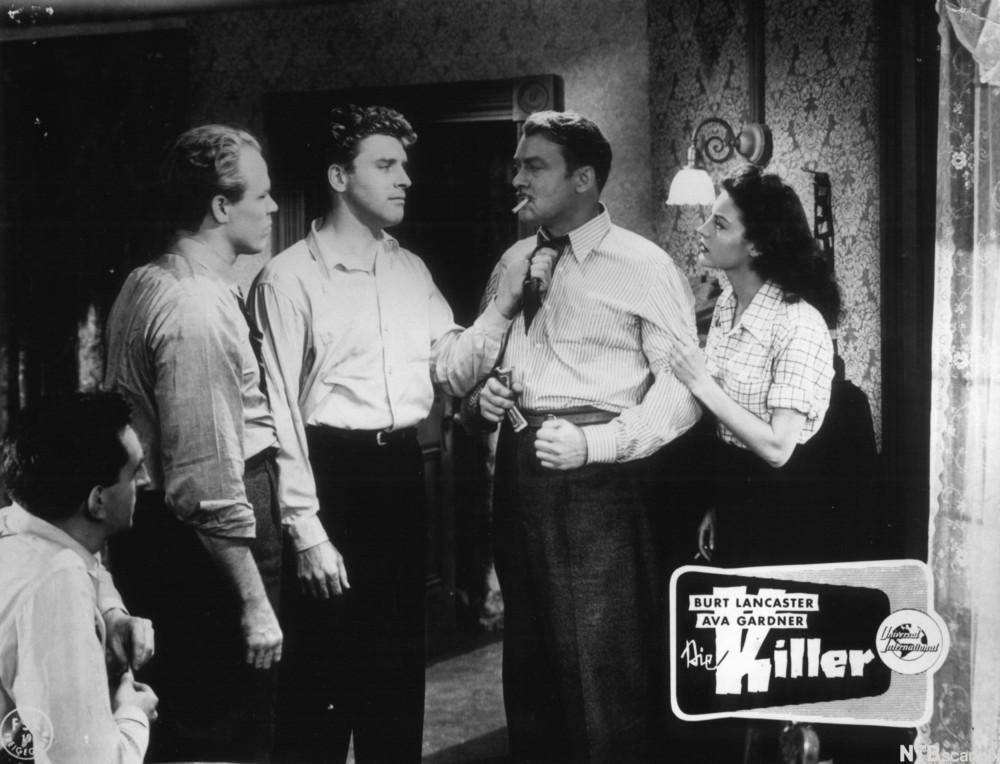 Scene med skuespillerne Burt Lancaster og Ava Gardner i filmen The Killers
