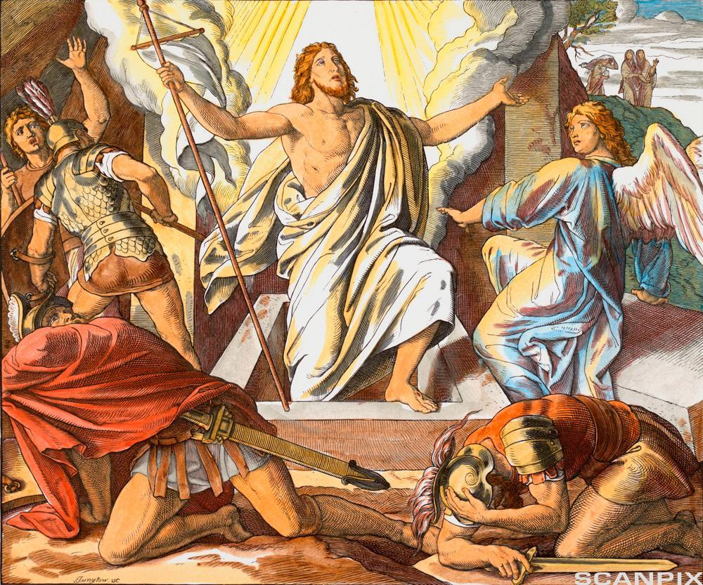 Jesus i hvit kjortel går ut av graven. Maleri.