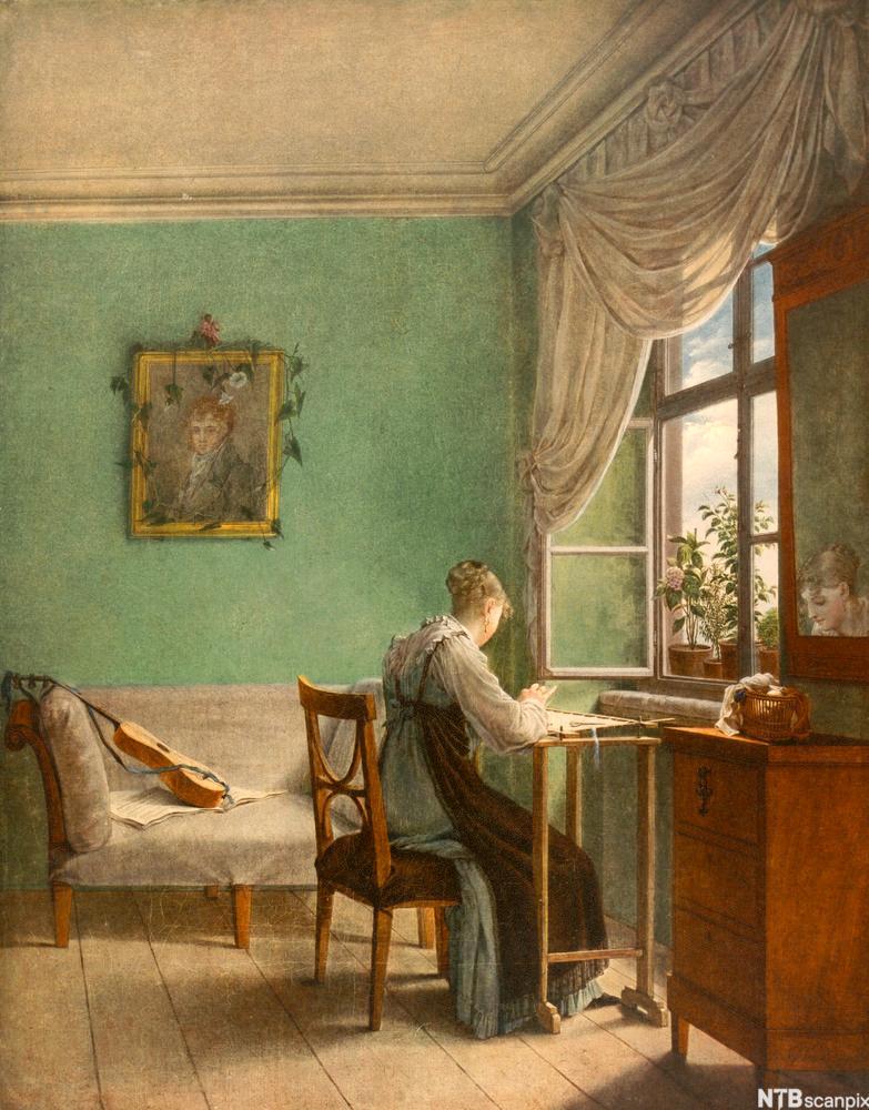 Maleriet «Broderende kvinne», malt av tyske  George Friedrich Kersting i 1827. Maleri.