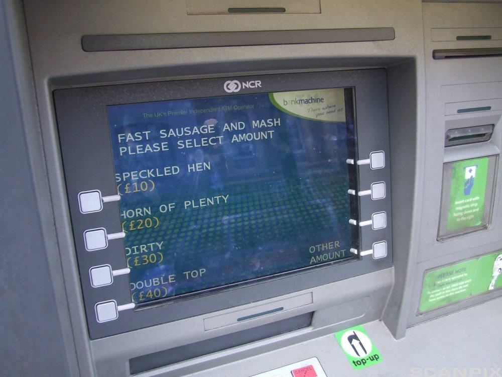 Cash machine with both Cockney and Standard English text