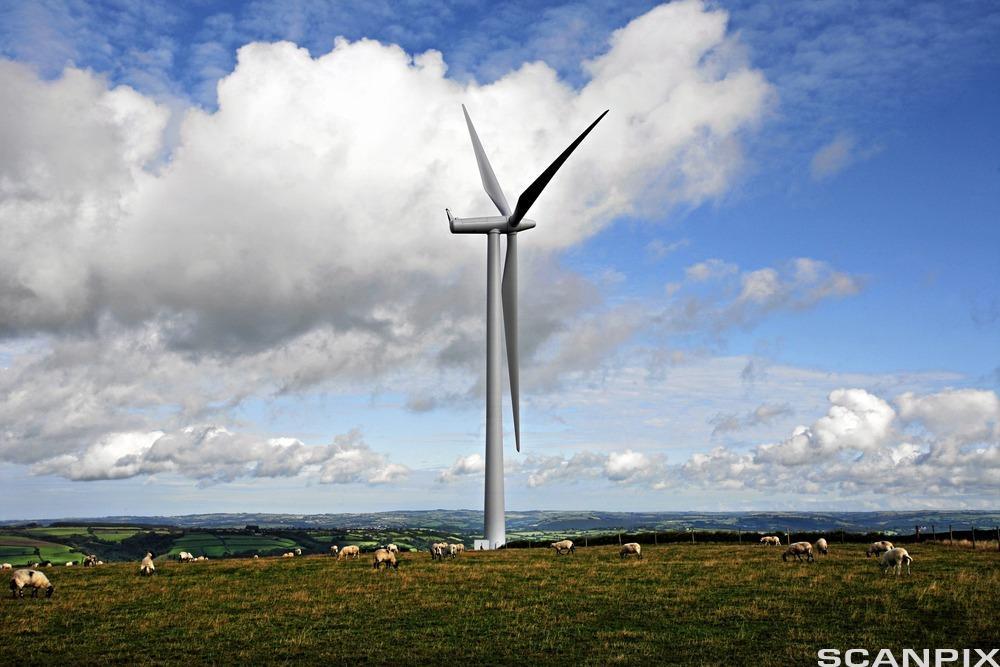 Moderne vindmølle.bilde.