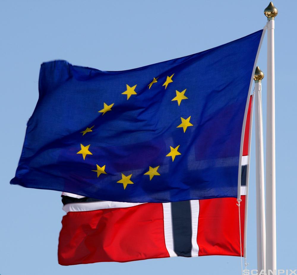Det norske flagget og EU-flagget sammen. Foto.