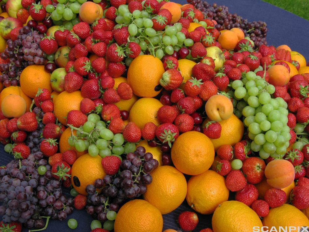 Masse frukt og bær i en haug. Foto.