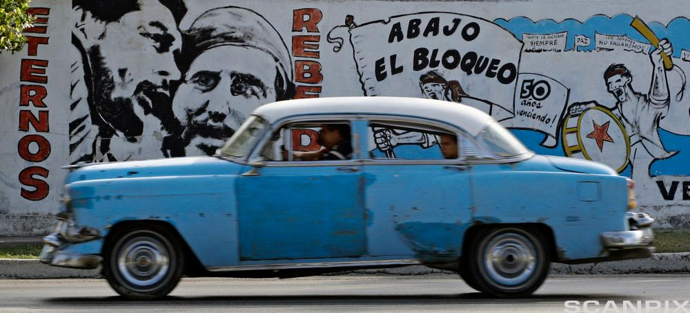 A Motorist Drives past a Mural in Havana