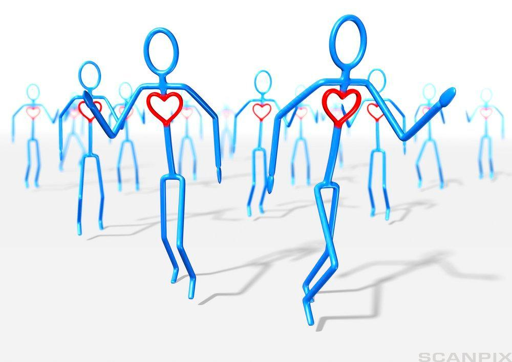 Menneskefigur med hjerte. Illustrasjon.