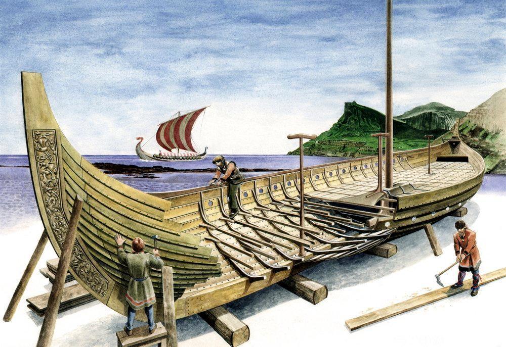 Bygging av vikingskip. Illustrasjon.