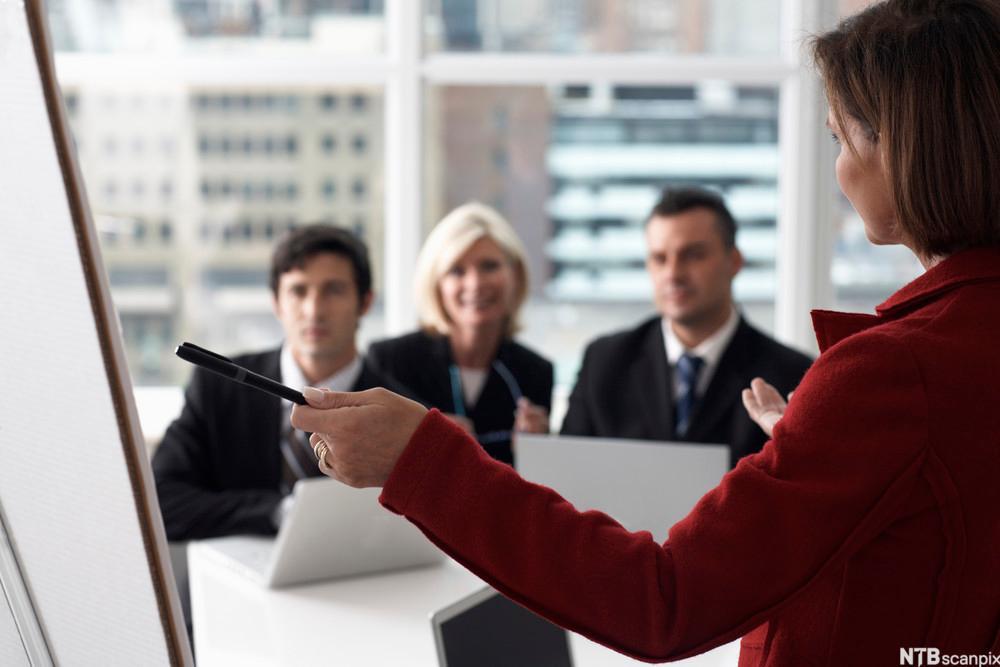 Bilde av en kvinne som holder foredrag i et møterom.