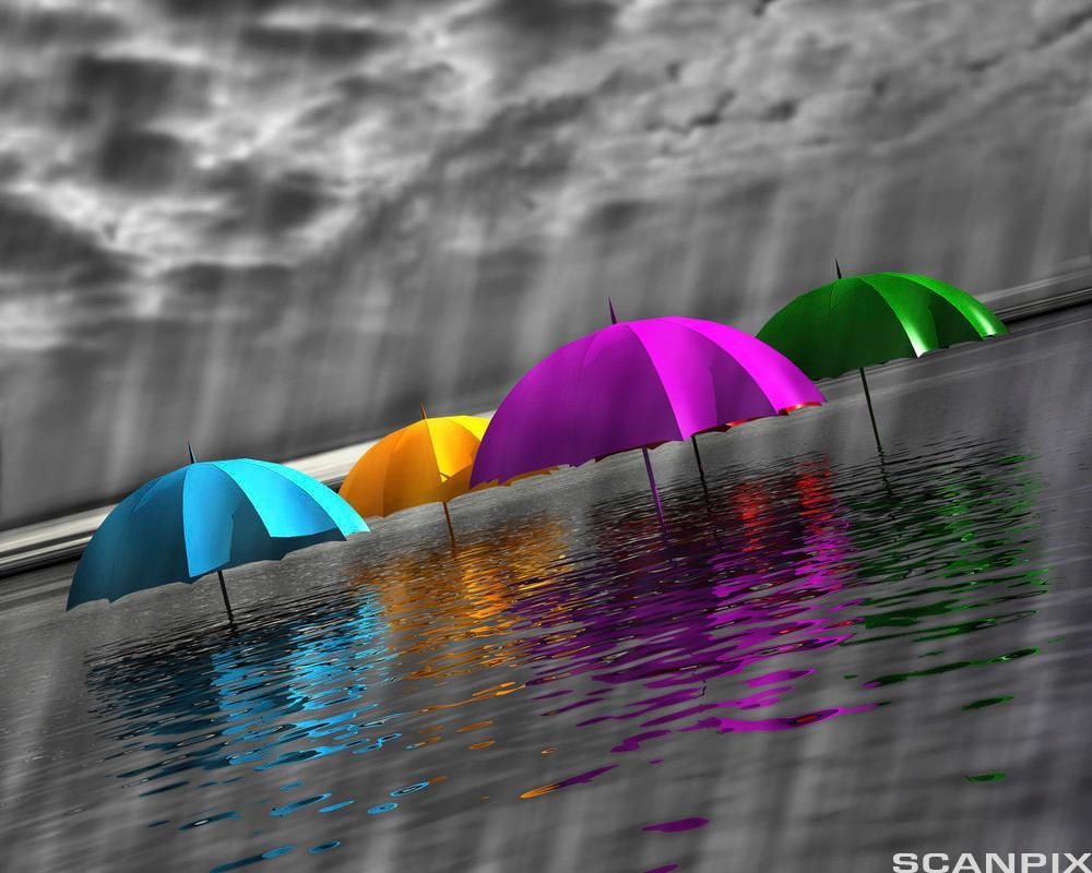 bildet viser paraplyer som stikker opp fra vannet
