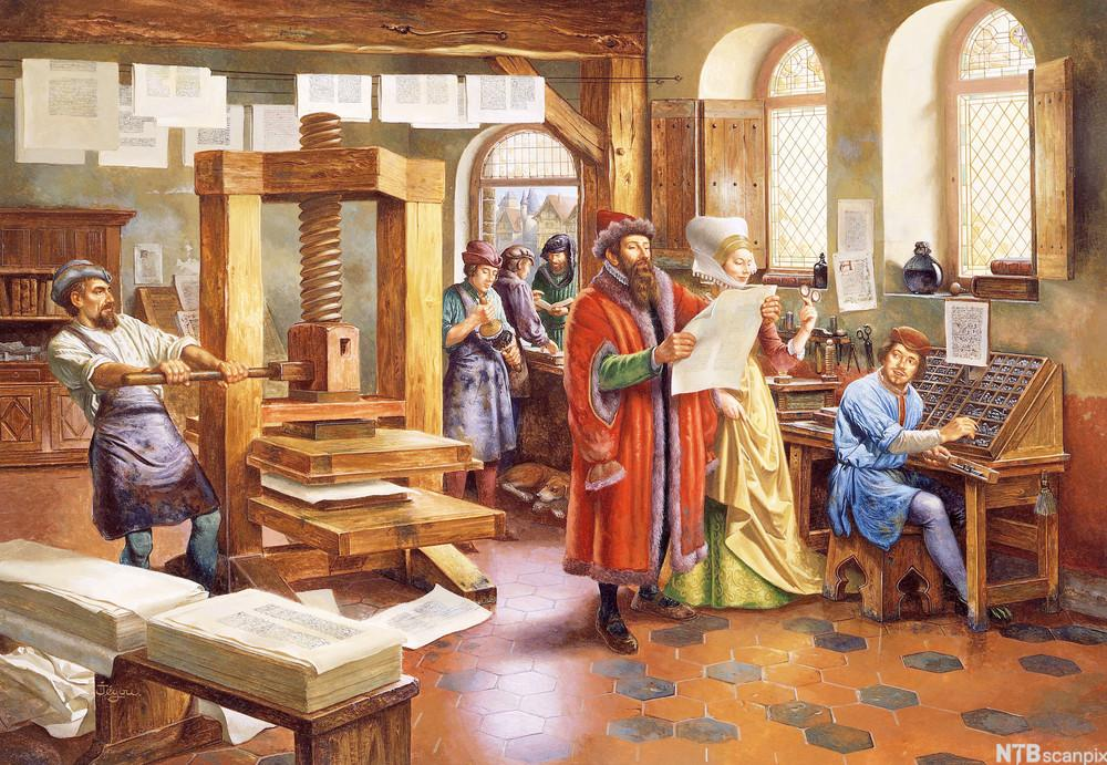 Johan Gutenberg i verkstedet. Illustrasjon.