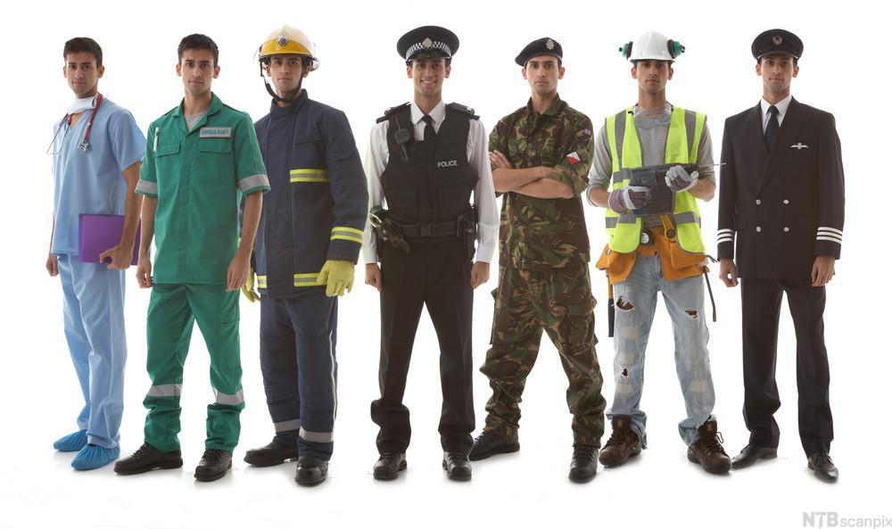 Bilde av personer som representerer ulike yrkesgrupper som soldat, pilot, brannmann, lege, konduktør, snekker