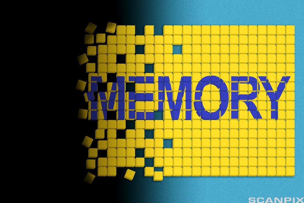 Ordet Memory skrevet på plakat. Illustrasjon.