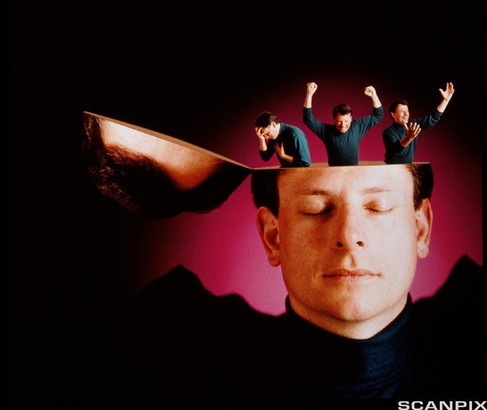 Mann med åpent hode der tre personer diskuterer. Illustrasjon.