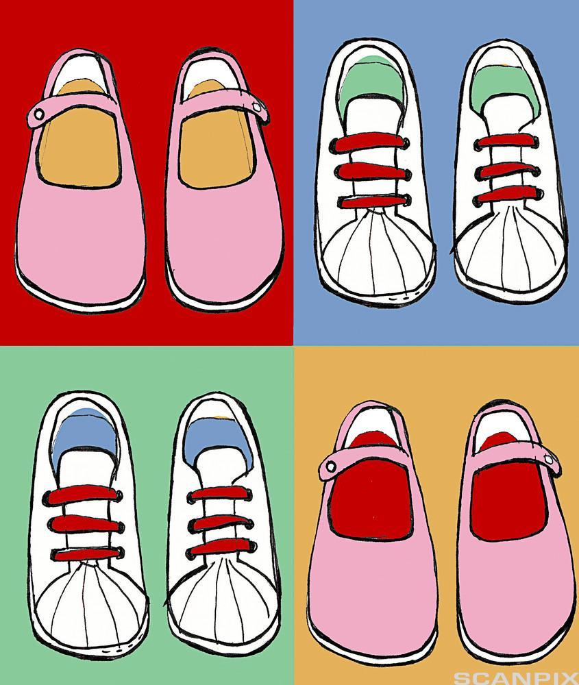 Ulike sko. Illustrasjon