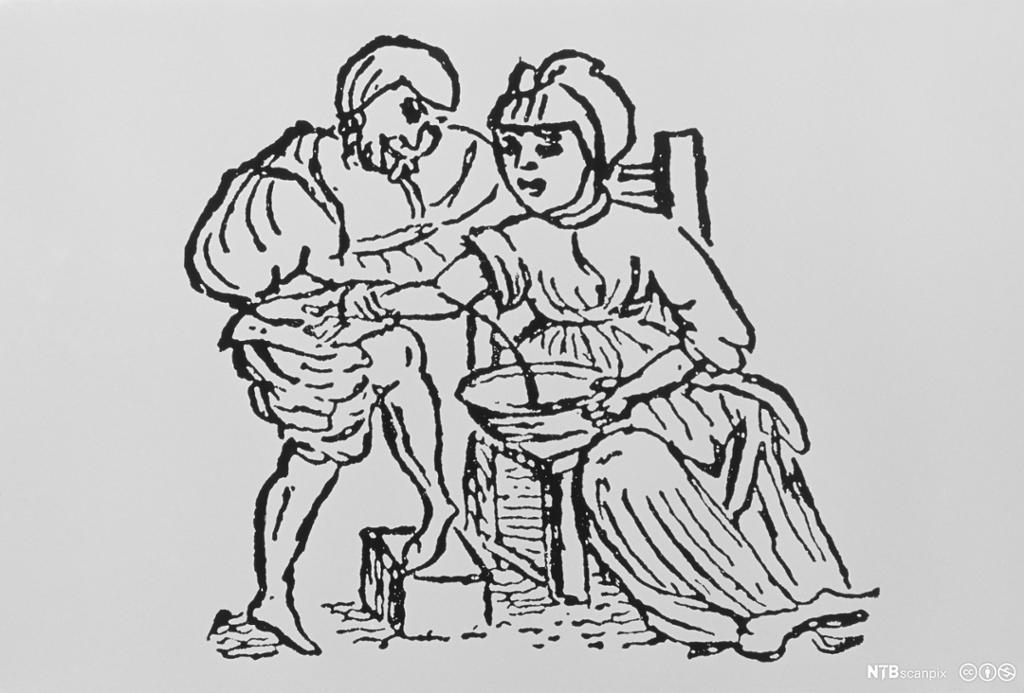 En doktor årelater en kvinne. Tegning