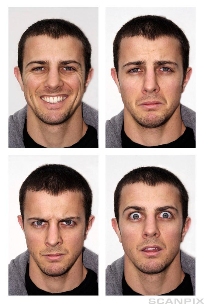 Fire bilder av samme mann som viser ulike aniktsuttrykk. Foto.