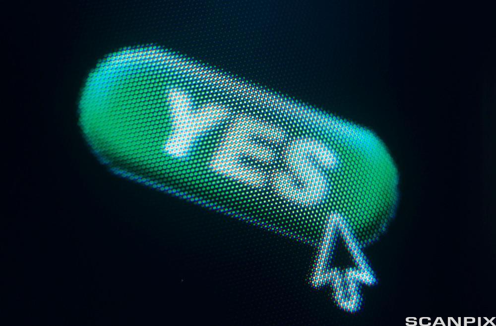 Bildet viser det engelske ordet yes