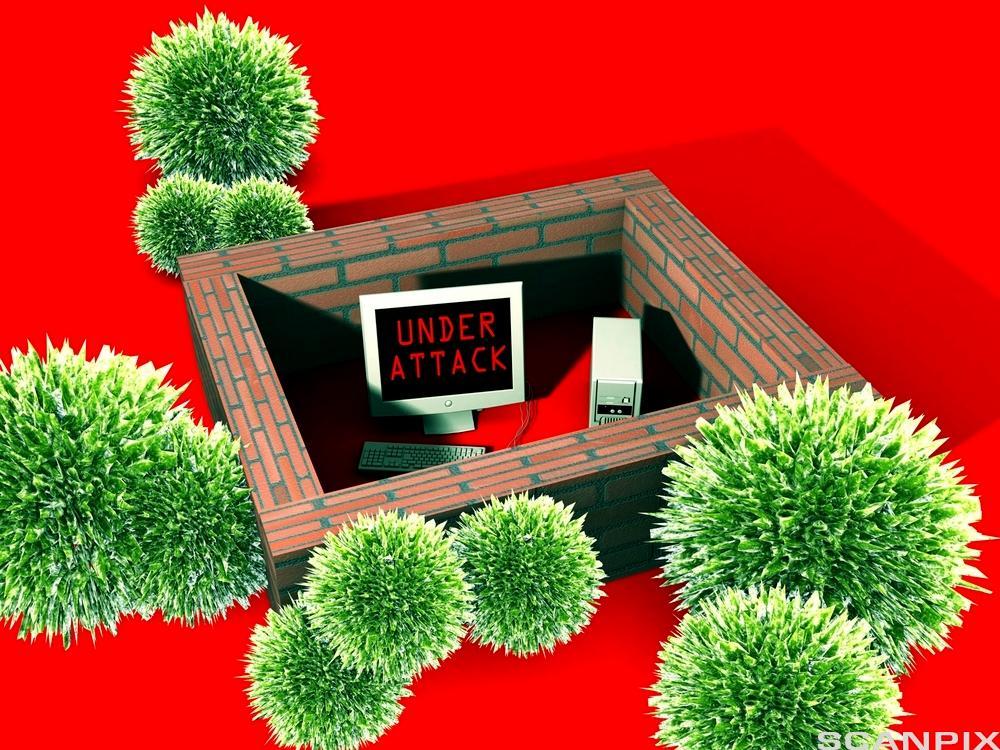 PC som er plassert bak en mur med virus som angriper. Illustrasjon