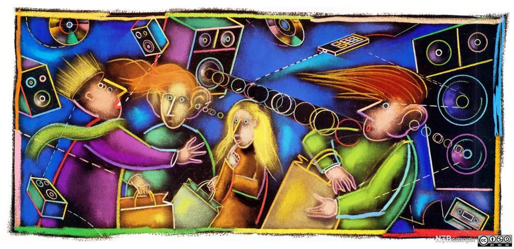 Fargerikt bilde av mennesker, høytalere og lyd i kaos. Illustrasjon.