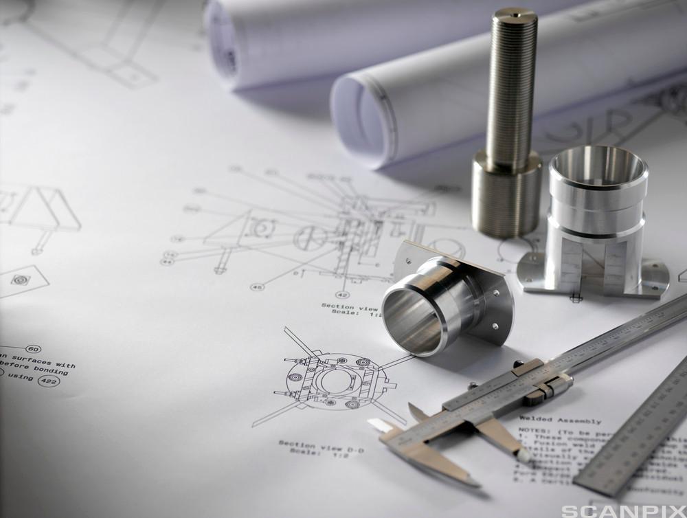 Ingeniørutstyr og mekaniske komponenter. Foto.