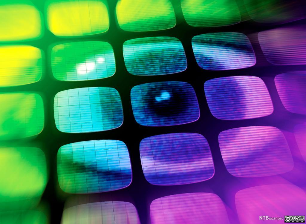 Et øye i mange skjermer. Grafisk.