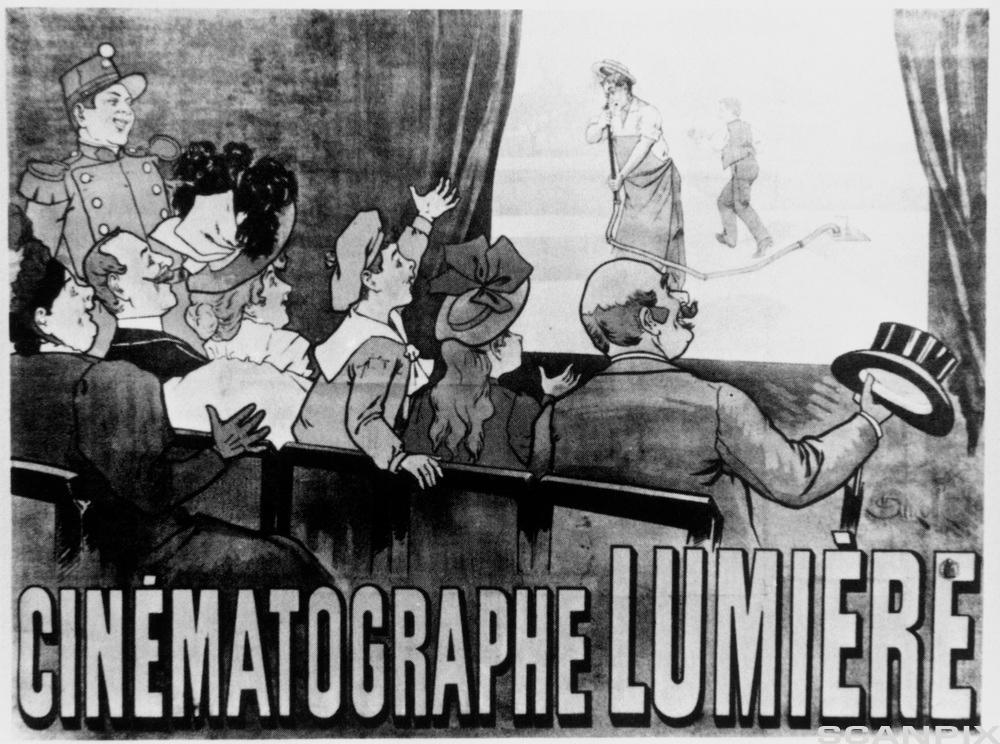 Reklameplakat for den første kinoen i Paris. Illustrasjon.