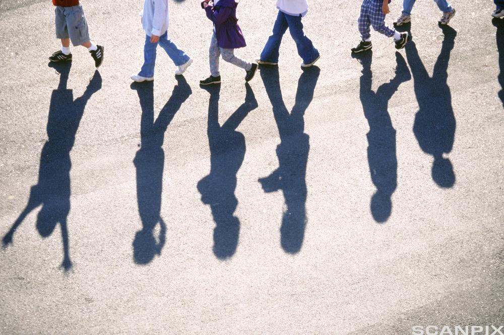 skygger av barn som går bortover asfalt. Foto