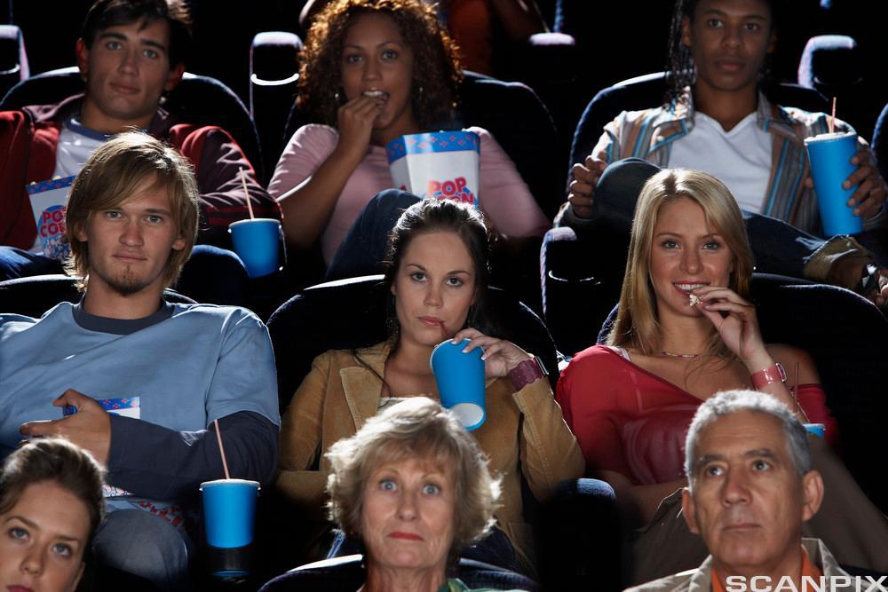 Publikum sitter på kino. Bilde.