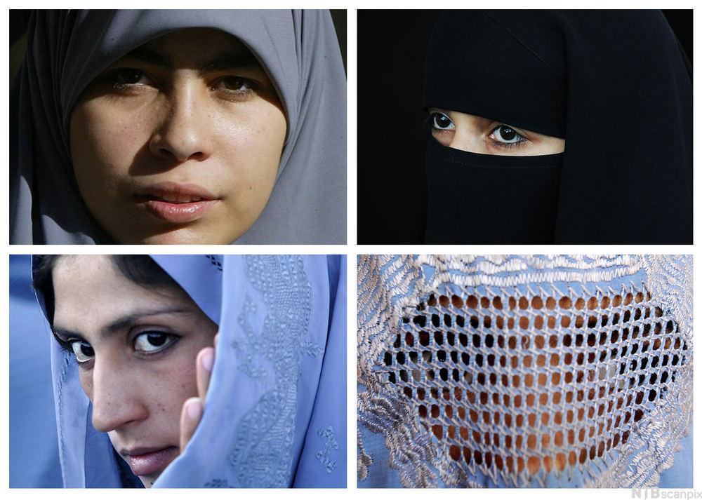 Hodeplagg for muslimskekvinner. Fotokollasje.