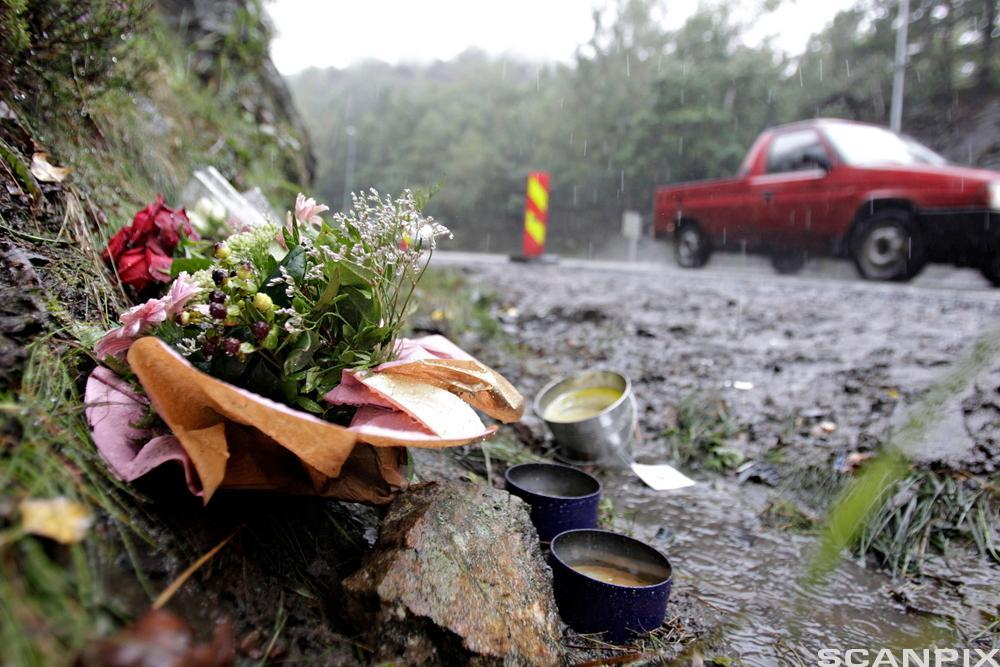 Blomster i minne om en bilulykke. Foto.