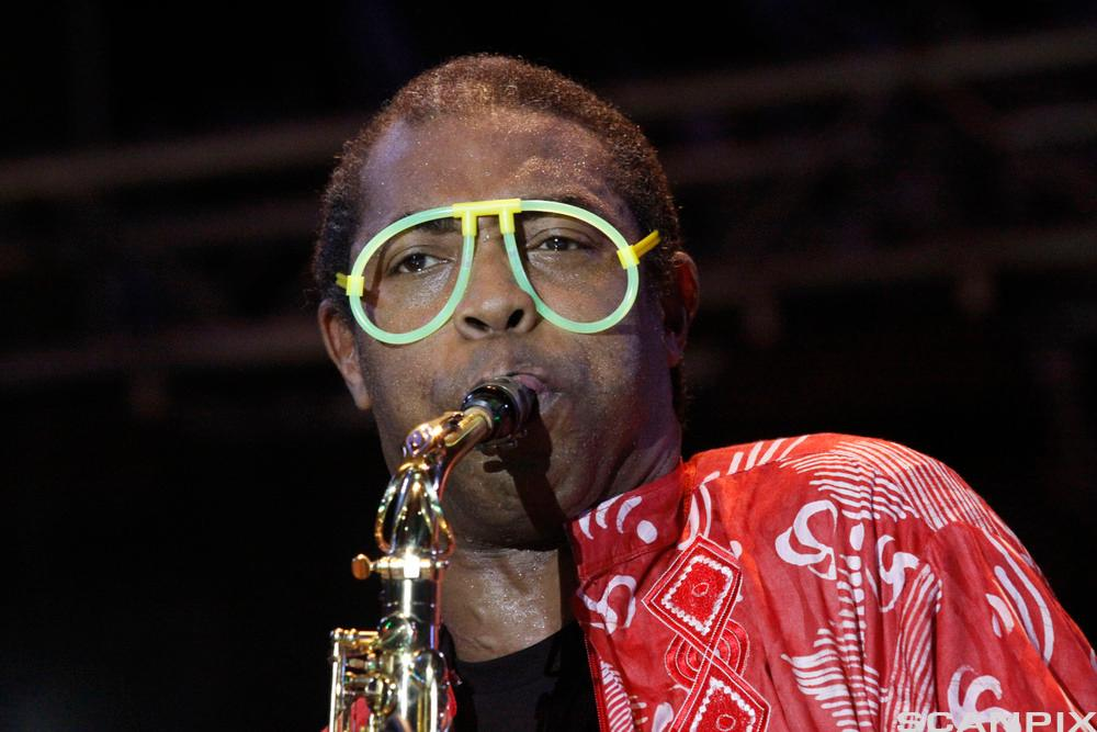 Musician Femi Kuti performs at a event in Lagos, Nigeria. The driving rhythms of Kuti's message follow that of his famous father