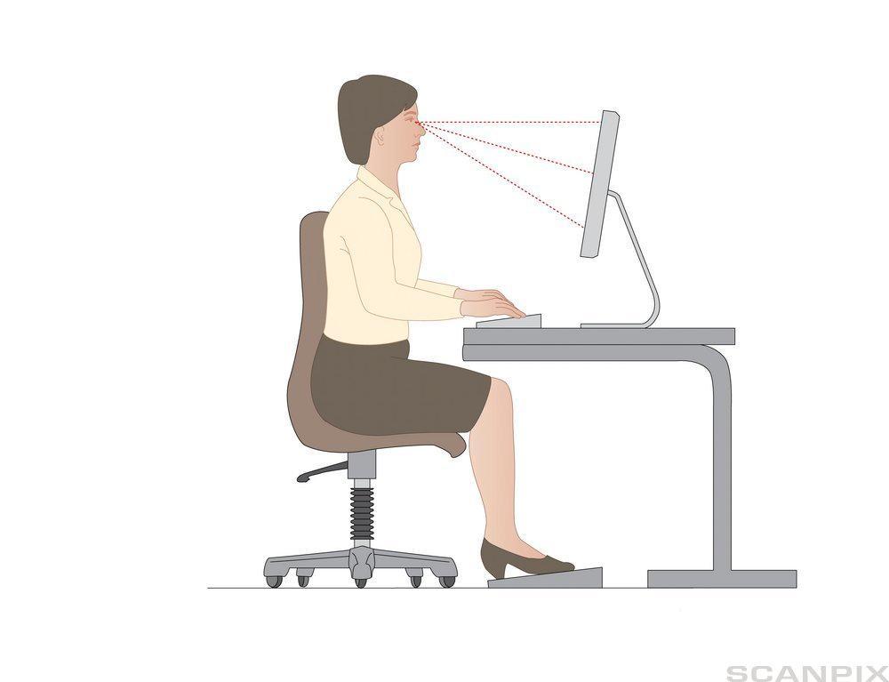 dame som jobber ved datamaskin.ilustrasjon.