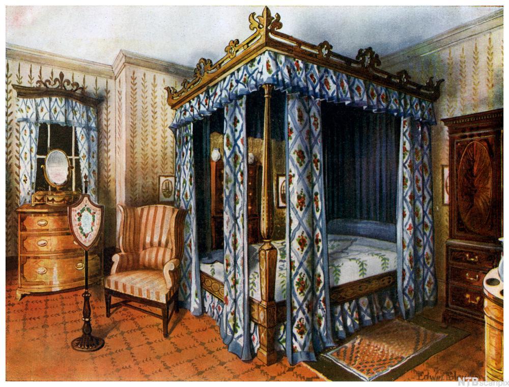 Soverom med himmelseng og elegante møbler i mahogni frå klassisismen. Måleri.