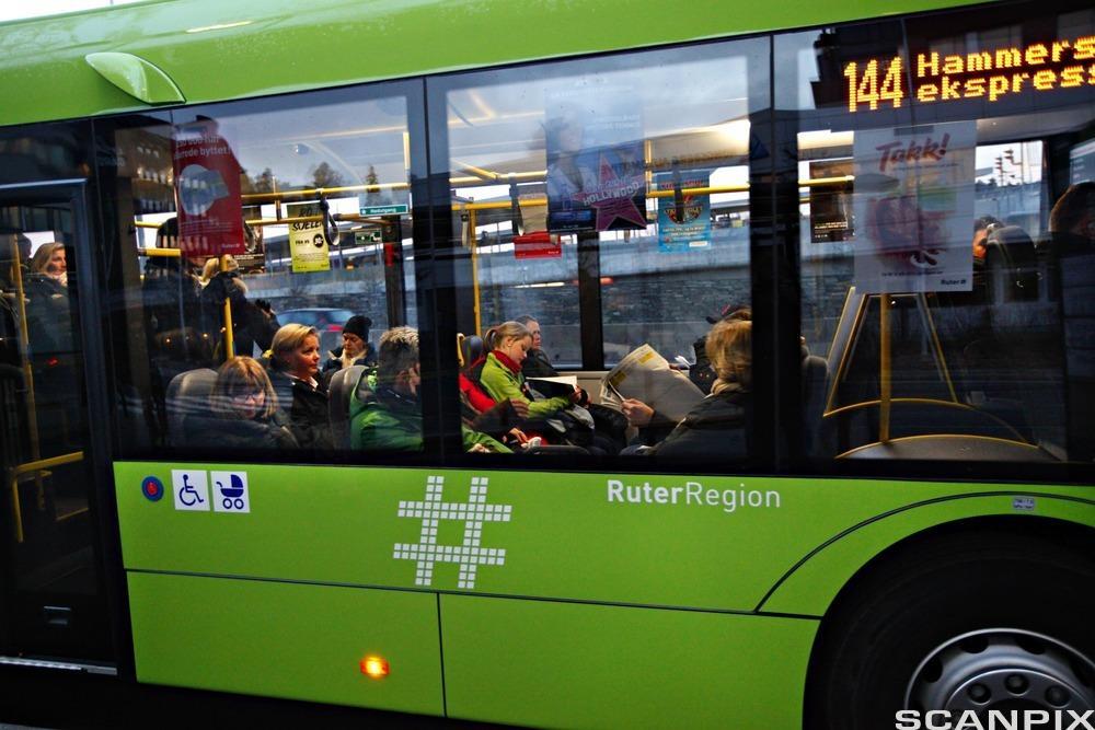 Bilde av en biogassbuss.