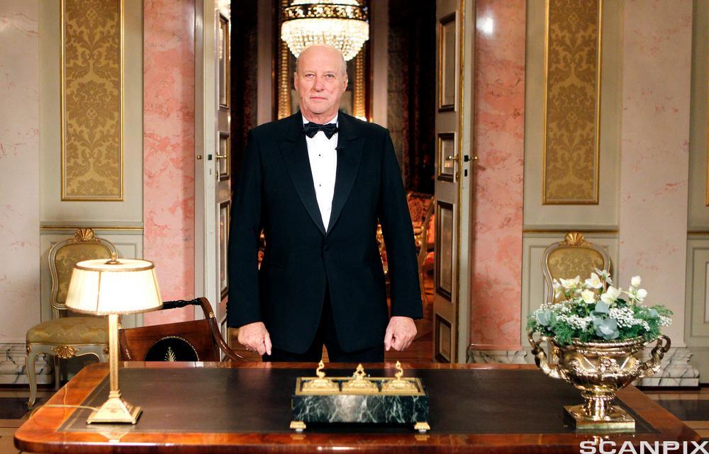 Kong Harald taler. Foto.