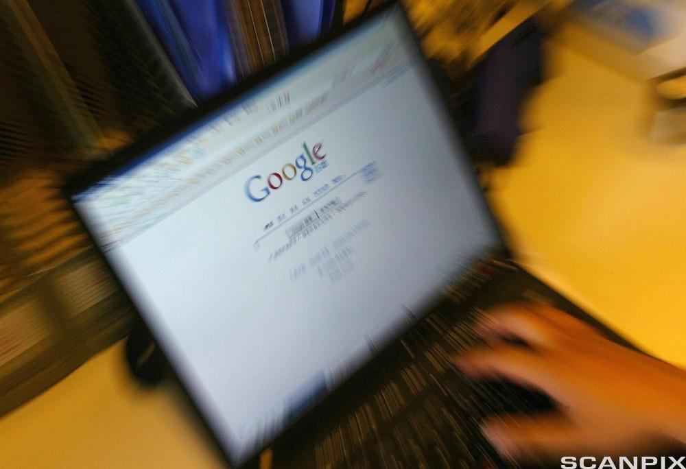 Laptopskjerm med google-søk. Foto.