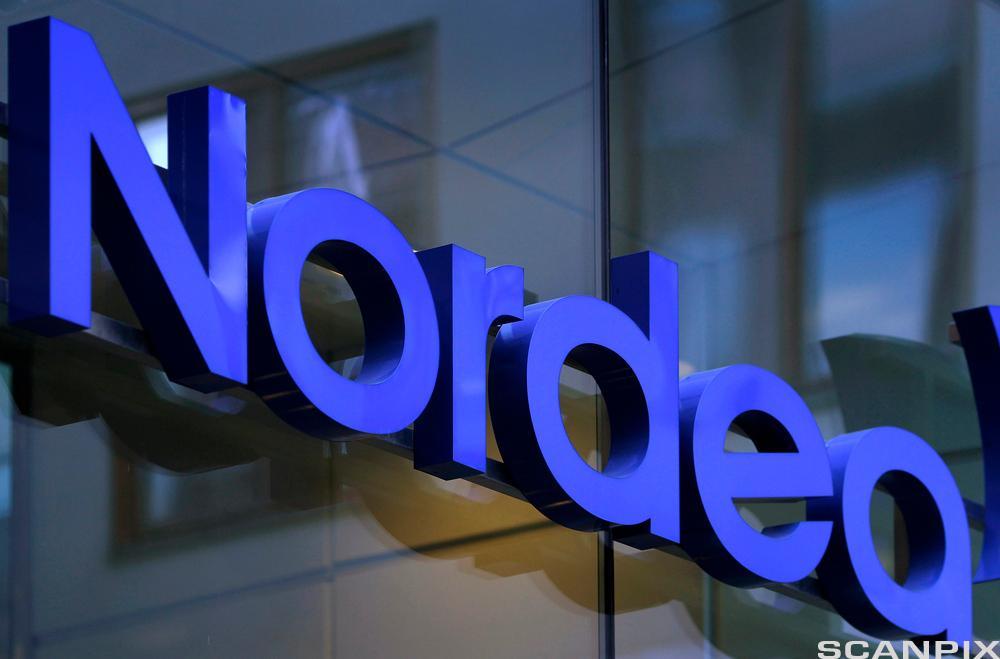 Fotografi av Nordea Bank sin logo. Foto